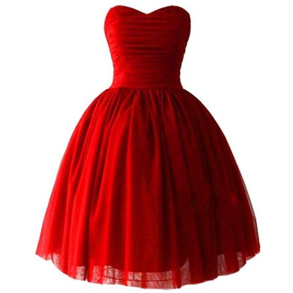 Kivary Tulle Sweetheart Ball Gown Corset Short Bow Prom Homecoming... (€89) ❤ liked on Polyvore featuring dresses, red corset, red corset dress, corset dresses, short red cocktail dress and short prom dresses