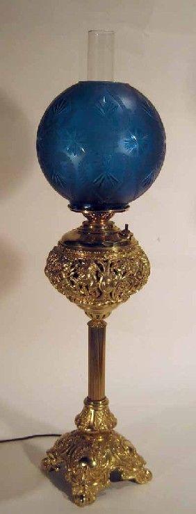 Ornate Brass Based Banquet Lamp : Lot 10217