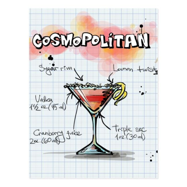 Cosmopolitan Recipe Cocktail Gift Postcard Zazzle Com Cosmopolitan Recipe Cosmopolitan Cocktail Recipes Cocktail Gifts