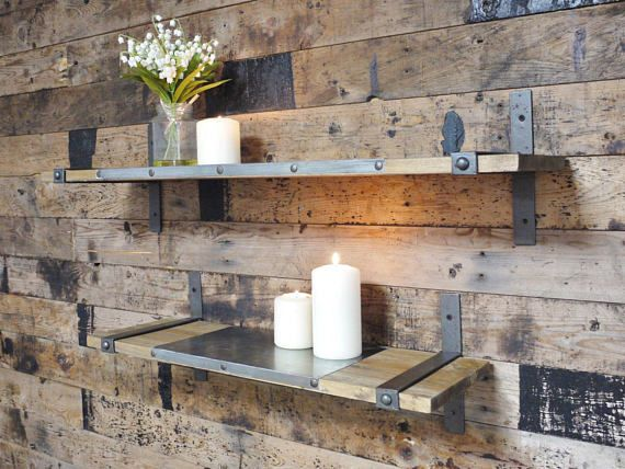 This beautiful shelving unit perfectly marries and contrasts the rustic nature of wood with industrial steel. Industrial shelves featuring metal inserts and brackets, providing structural support and industrial style to these rustic wooden shelves. These shelving units come as a pair.