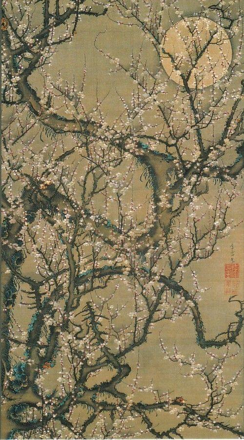 動植綵絵-08-梅花皓月図(ばいかこうげつず)