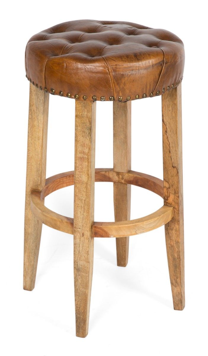 Manhattan Wood Bar Stool, Leather Seating