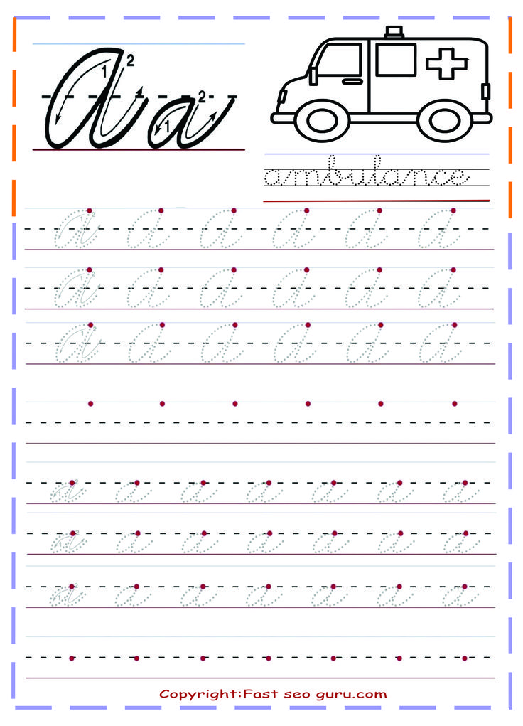 Printable cursive handwriting practice sheets letter a ...