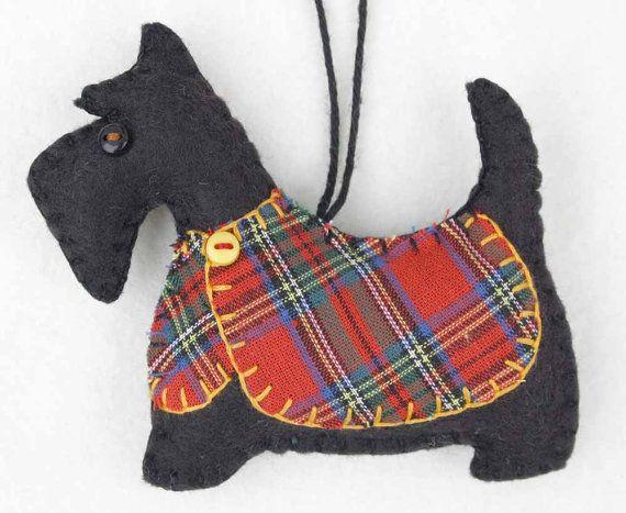 Scottie dog Christmas ornament, Felt dog ornament, Black Scottie dog decoration…