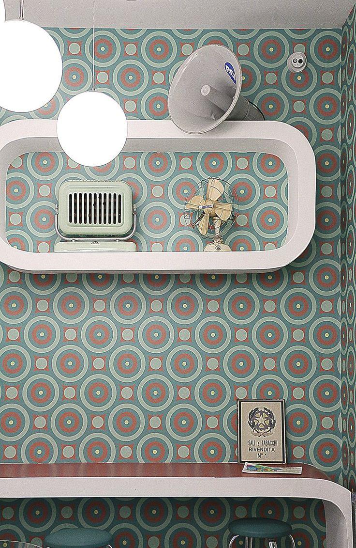 La Cresceria, 2016 - chiara marchionni  #vintage style #'60 style #'50 style #cresceria #vitage #verde acqua #oggetti d'epoca #curved #round #green water #wallpaper vintage #curved counter #counter #lighting #vintage light #ventilatore vintage #stufa vintage