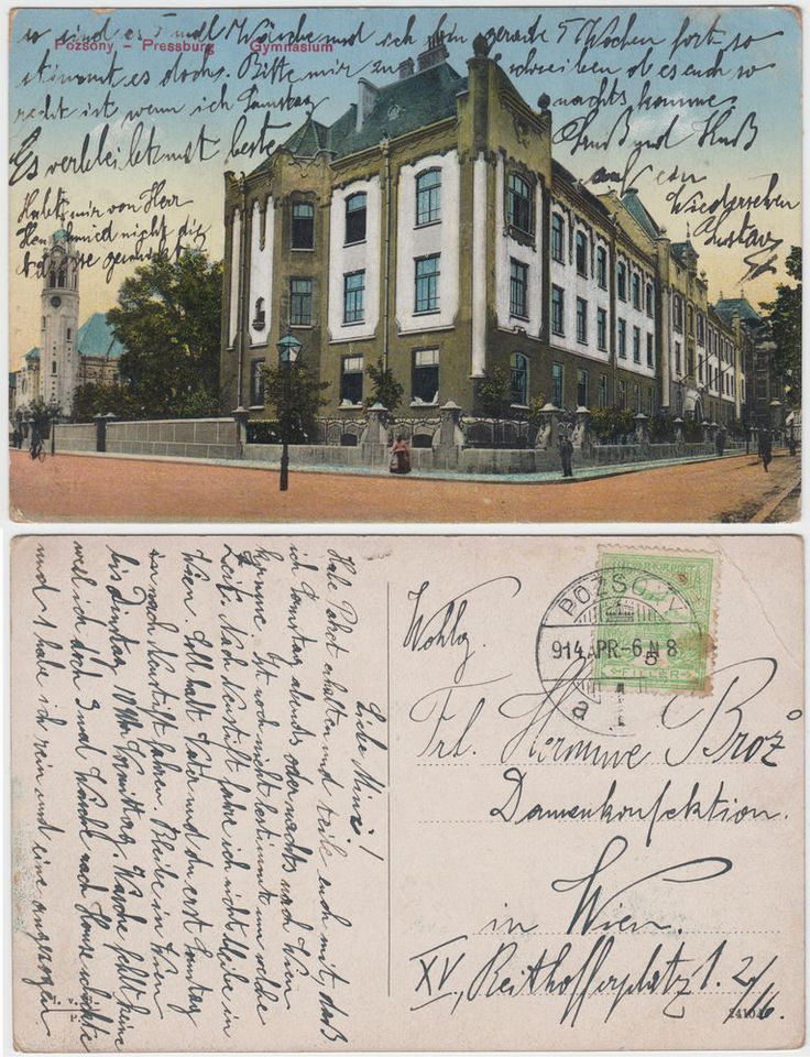 AK Pozsony Pressburg Bratislava Gymnasium 1914
