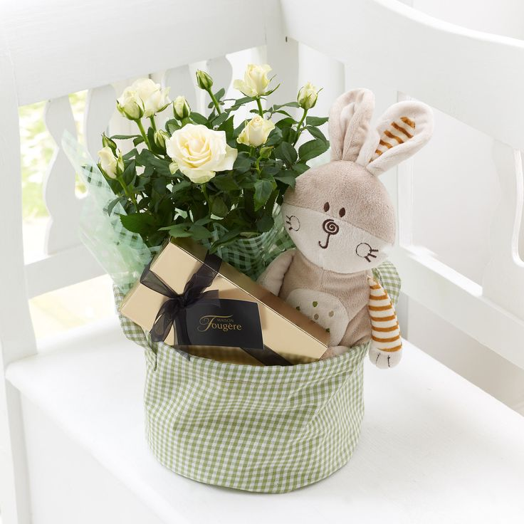 24 best new baby images on pinterest flower arrangements treat some new parents to this new baby gift set containing a vanilla rose plant a cuddly bunny soft toy and a box of maison fougre chocolates negle Gallery