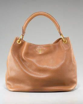 868889b7a0ed7 Prada Vitello Daino Pebbled Calfskin Leather Hobo in Brown  Pradahandbags