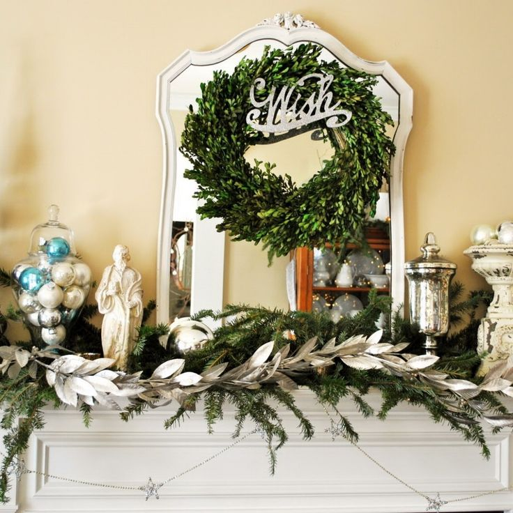 Simple White Mantel Christmas Decorating Idea with Evergreen with White  Snow Accents