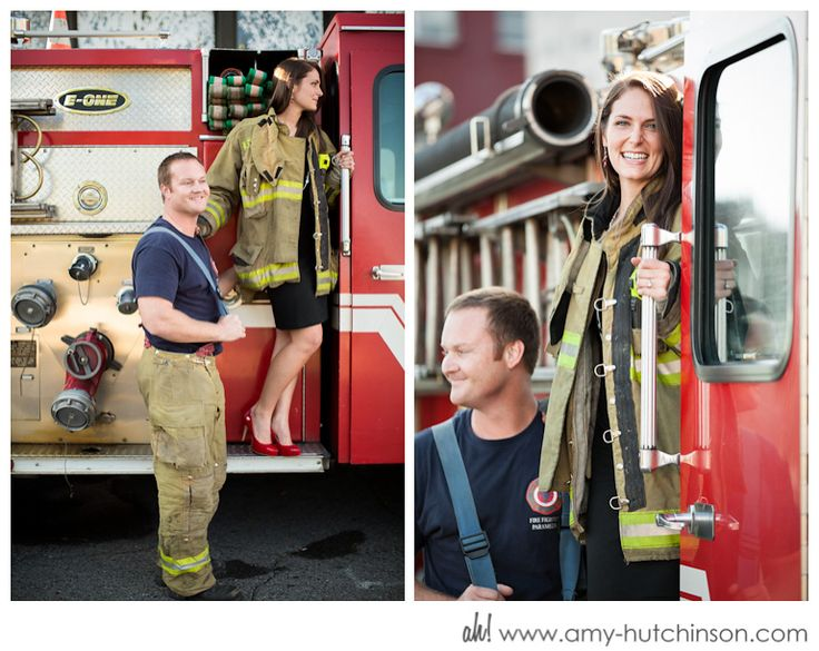 firehouse themed engagement shoot /// amanda + kevin: promised. a memphis firehouse engagement. memphis wedding photography by amy hutchinson photography ||| #memphis #wedding #photography #firefighter