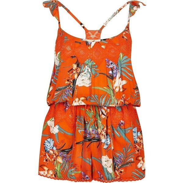 River Island Orange tropical print playsuit ($27) ❤ liked on Polyvore featuring swimwear, cover-ups, caftans / cover-ups, orange, swimwear / beachwear, women, orange swimwear, ruffle swimwear, racerback swim cover up and swim cover up