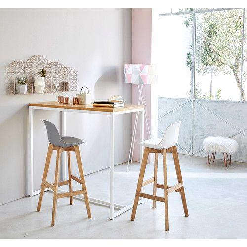 Mesa alta de metal blanco L. 120 cm