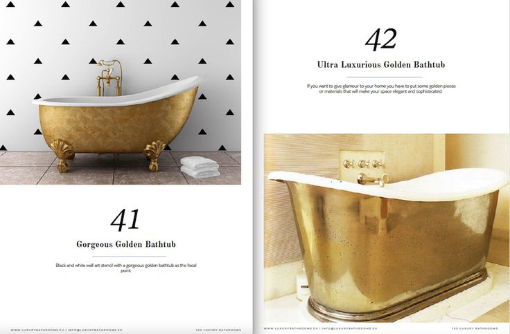 """Get inspired by a range of styles that goes from hyper luxury to the contemporary style. The same for materials, from the finest gold to wood, from lacquer to metal… You name it! And all this only selected from collections of the world's top brands and designers. Get Inspired With the Free e-Book """"100 Must-See Luxury Bathroom Ideas"""" ➤To see more Luxury Bathroom ideas visit us at www.luxurybathrooms.eu #luxurybathrooms #homedecorideas #bathroomideas @BathroomsLuxury"""