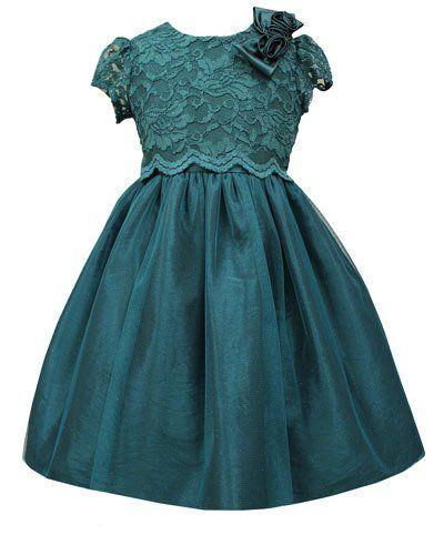 Lace A-Line Dress, Teal, 2T-6X
