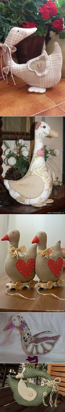 Gansos, patos de la tela