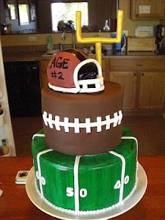@Joann Lyon  what about this football cake for the grooms cake? but instead of the helmet on top, our cake topper?