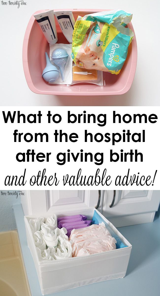 GREAT advice! What to take home from the hospital after giving birth and other advice.