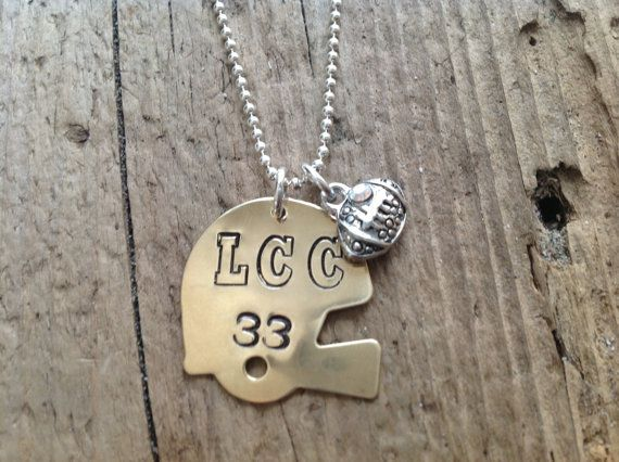 Football Mom/Girlfriend Helmet Sports Necklace by tagsoup on Etsy