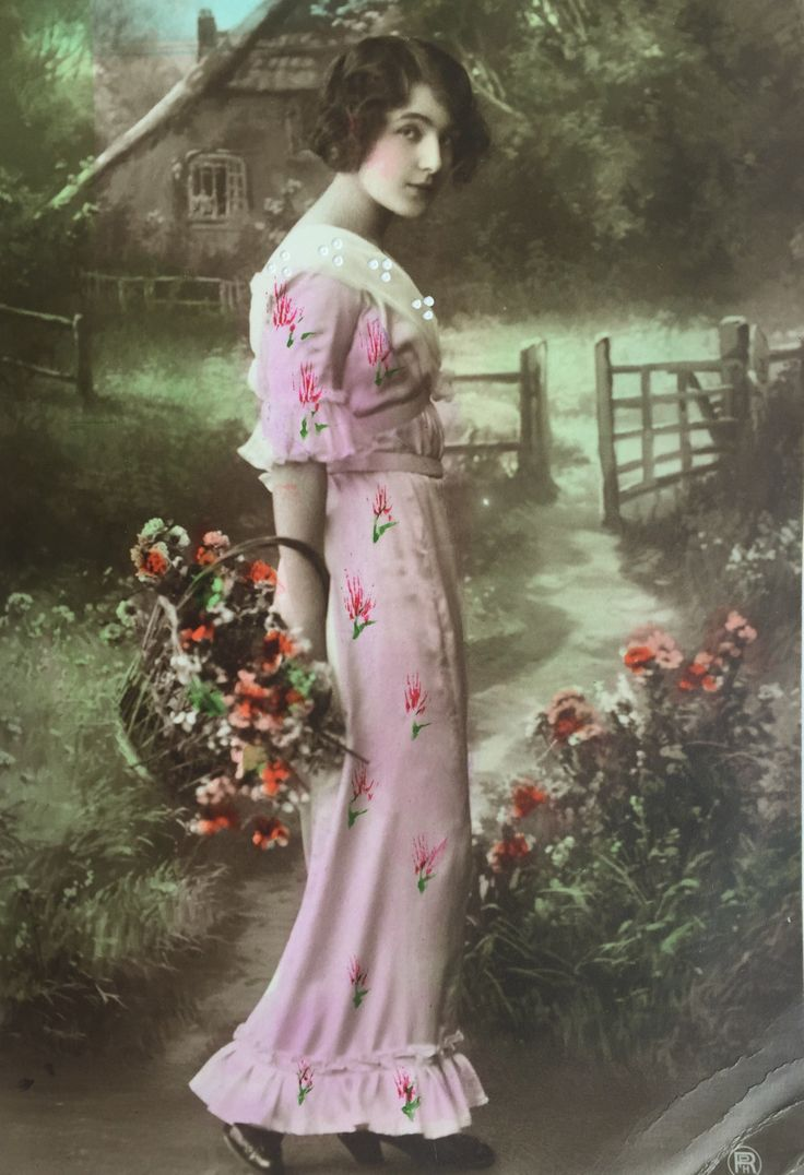 Pretty lady in a pink dress gathering flowers in the countryside * Flower basket…