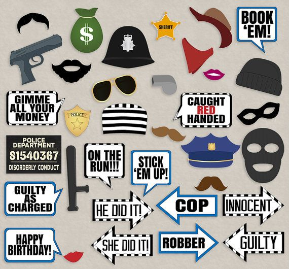 35 Cops and Robbers Party Props Police party by YouGrewPrintables