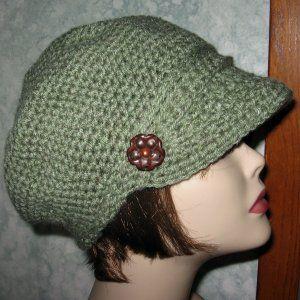 Free Crochet Hat Patterns for Women | CROCHET PATTERN Womens Khaki Crocheted Newsboy Visor Hat ePattern PDF ...