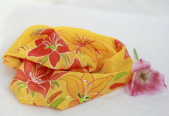 Hand painted silk scarf-LilyflowerYellowfloral by Aryonelle