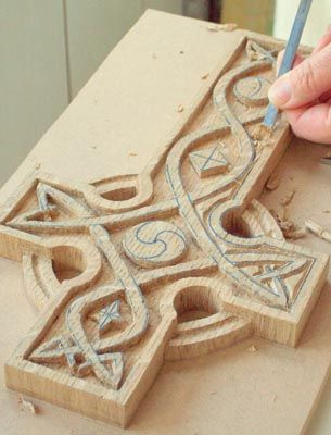Take care when removing the background around the intricate patterns. Use small tools such as a 2mm gouge
