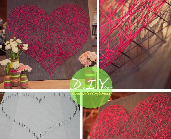 Διακόσμηση τοίχου με χειροποίητη καρδιά από σπάγκο και πρόκες.