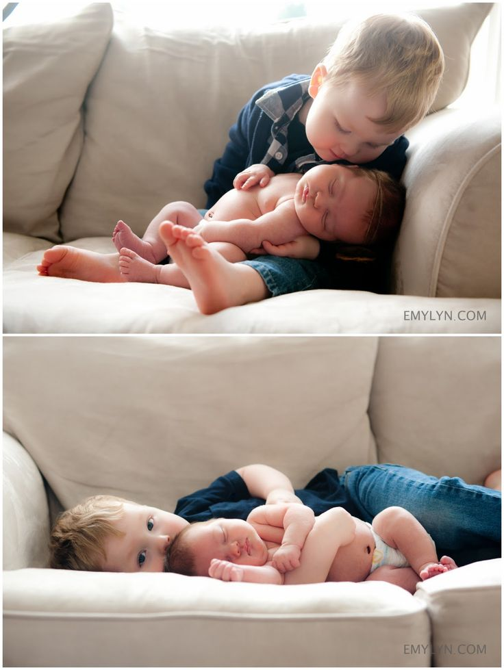 sweet newborn photo with older sibling