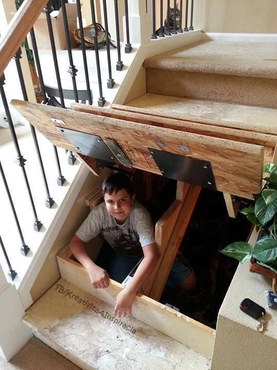 What a great idea for a safe place to hide in case of intruders. You could even set it up so you could lock yourself in if needed...although I am not sure that would be a good idea with kids around! This would make a great 'hide and seek' hiding spot too!