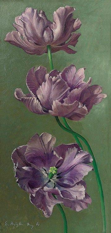 1961 Eliot Hodgkin (Enlish; 1905-87) ~ Tulips; oil on board 18×9 (45.7×22.9 cm.)