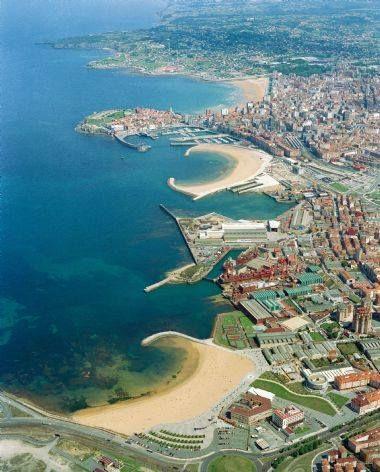 Gijon from the air, Asturias, Spain