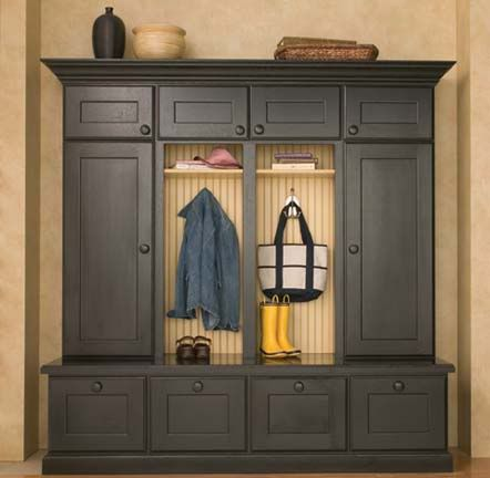 """DuraSupreme Cabinetry {Boot Bench and Lockers shown with """"Monterey"""" door style in Quarter-Sawn Red Oak with Black painted finish. Beadboard back is Maple with Buttercream/Espresso Glaze finish.}"""