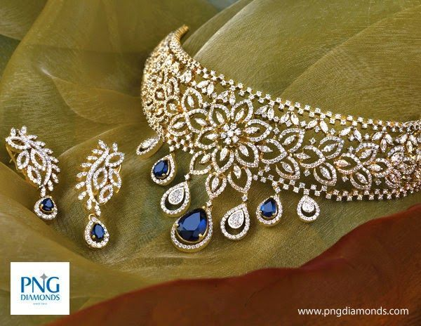 Jewellery Designs: Sapphires Diamond Floral Choker