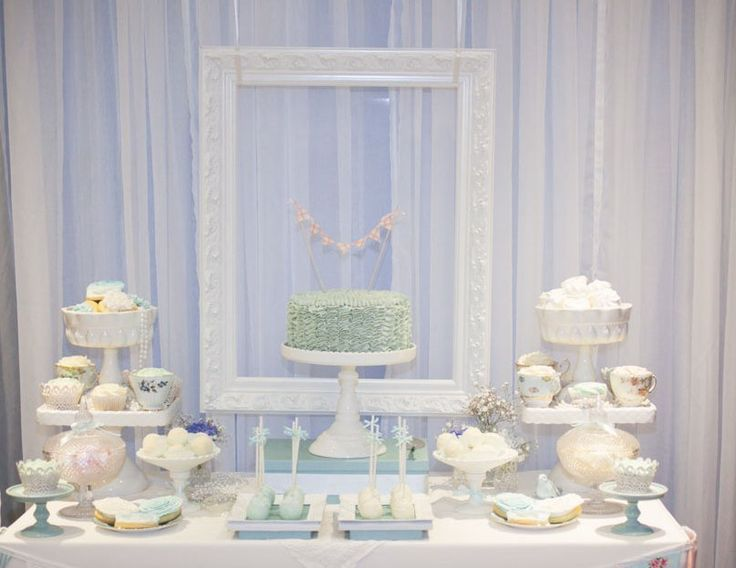 Vintage dessert table (love the use of the pic frame but I think i'd try and center it more or maybe turn it sideways. )