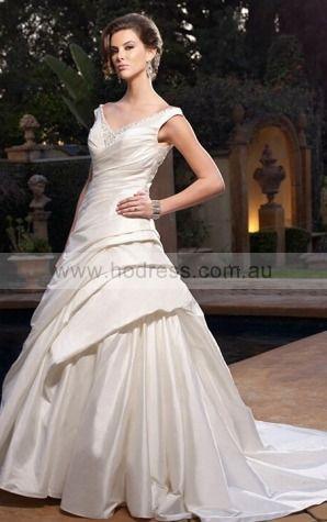 A-line Sleeveless Shoulder Straps Buttons Wedding Dresses fsbf1019--Hodress