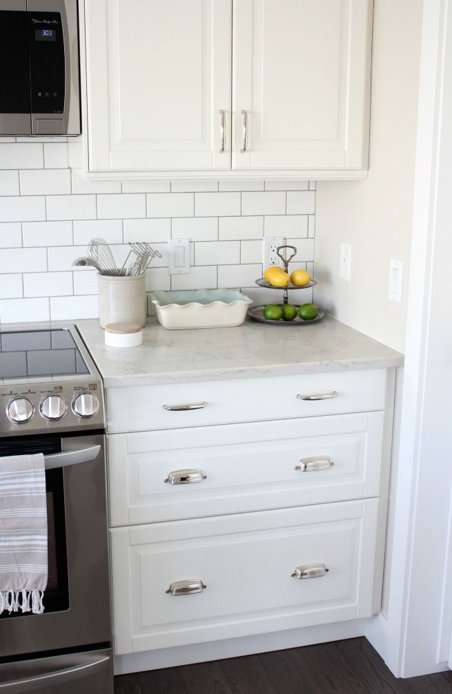 Kitchen Makeover With White Ikea Kitchen Cabinets Subway Tile Backsplash And Marble Quartz Countertop