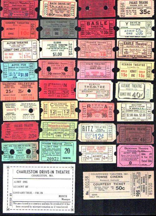 vintage theater tickets >>> um belo quadro para a sala, pq não? amei!