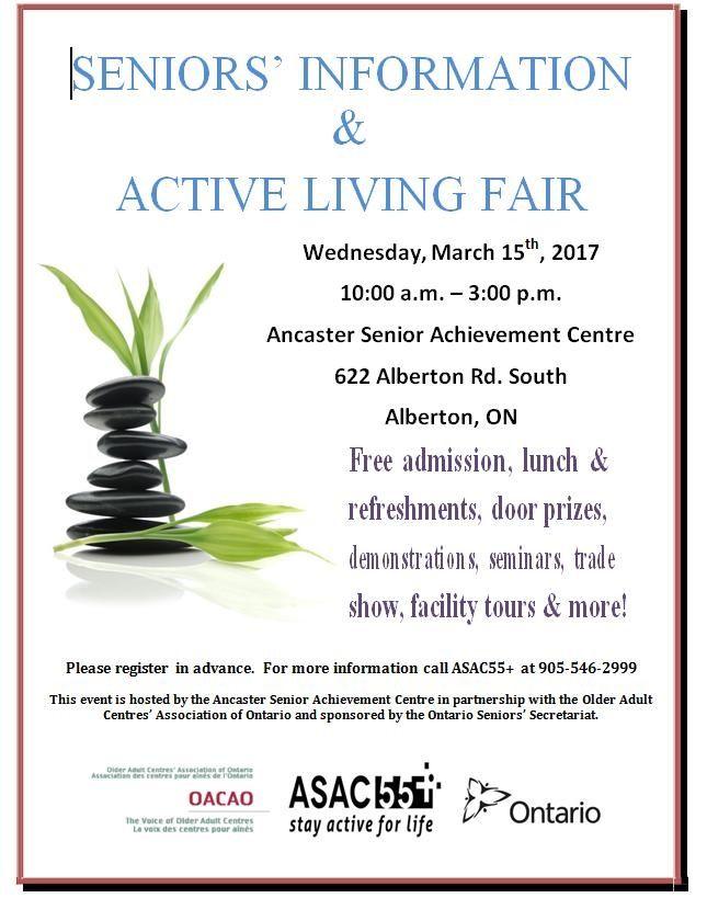 SAVE THE DATE.. SENIORS' INFORMATION & ACTIVE LIVING FAIR March 15th, 2017 #HamOnt #Seniors