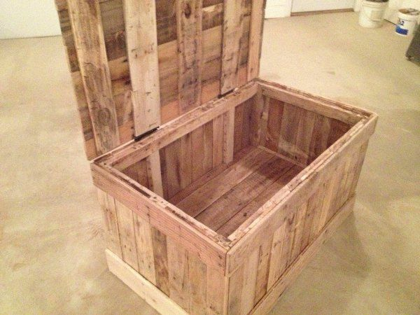 Hidden compartment diy pallet wood chest pallet for Diy hidden compartment