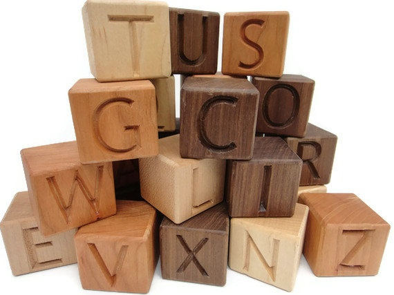 26 Alphabet Building Blocks Natural & Organic -Wooden Toy Blocks. $44.00, via Etsy.