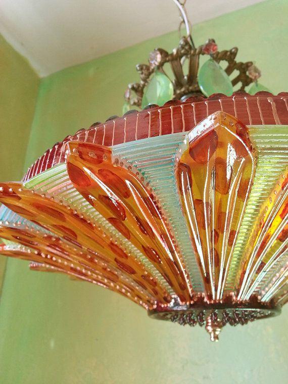 Gypsy Art Deco Semi Flush Lighting One of a Kind by queendecor