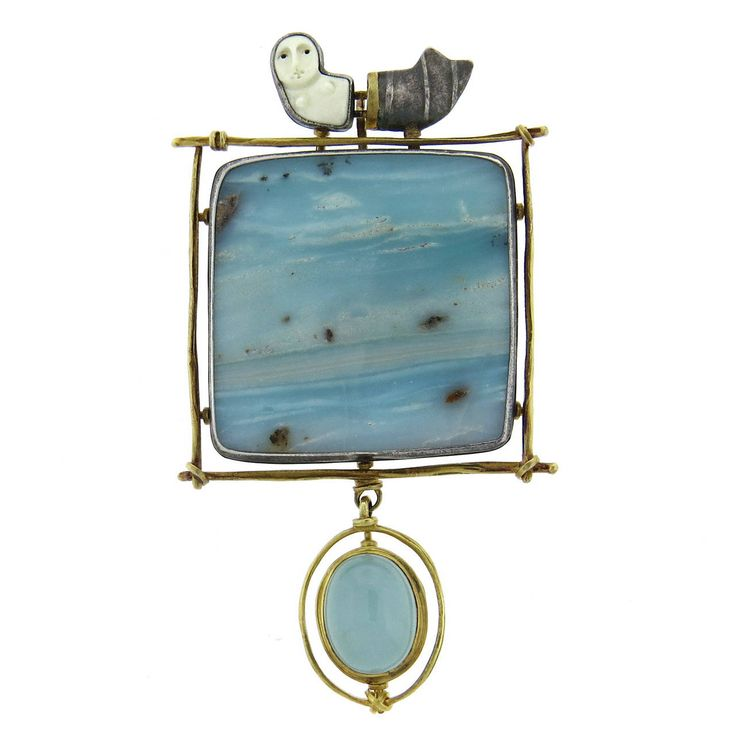 Carolyn Morris Bach Silver Gold Gemstone Brooch Pendant | From a unique collection of vintage necklace enhancers at https://www.1stdibs.com/jewelry/necklaces/necklace-enhancers/