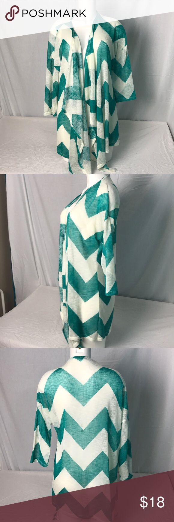 """Maurice's Plus size Chevron Print Open Cardigan Green and white chevron print open cardigan. Goes great with jeans or leggings.  Length from shoulder to hem at the longest part is 38"""". Maurice's Plus size 1.  95% polyester and 5% spandex. Light weight Maurices Sweaters Cardigans"""