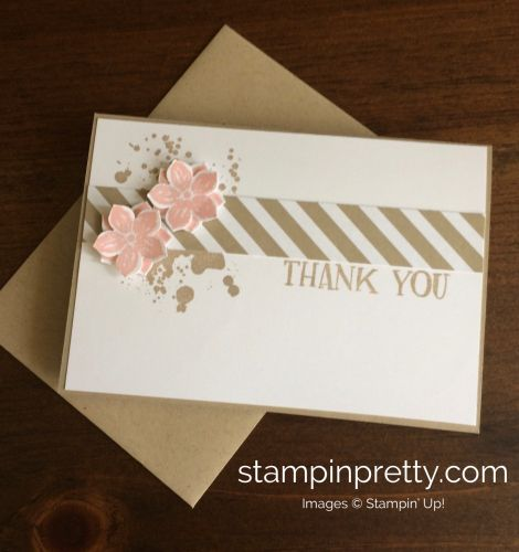 Petite Petals stamp set & punch thank you note card. Mary Fish, Stampin' Up! Demonstrator. 1000+ StampinUp & SUO card ideas. Read more https://stampinpretty.com/2017/04/quick-thank-you-note-card-trio.html