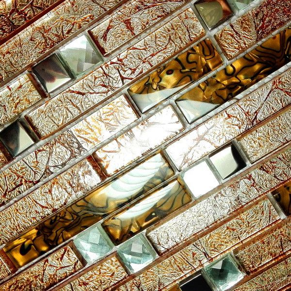 Peel and Stick Mosaic Decorative Wall Tile; Retro Golden
