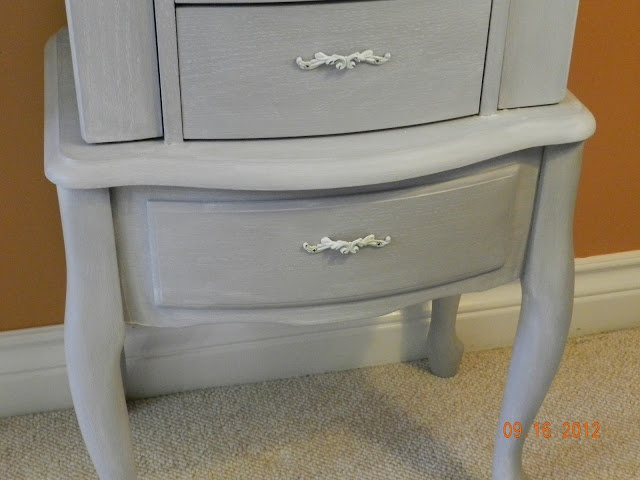Jewelry Armoire Make-over Paris gray with wax mixed with old white.
