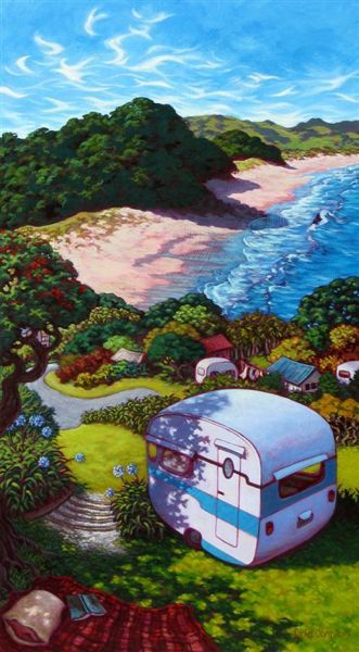 "Caravaning this Christmas at Hot Water Beach!   ""Hot Water Beach Caravan"" LIMITED EDITION PRINT OF 250 246x445mm"