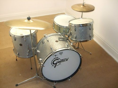 gretsch round badge silver sparkle Vintage Drum Kit Circa 1960's 12 14 20""