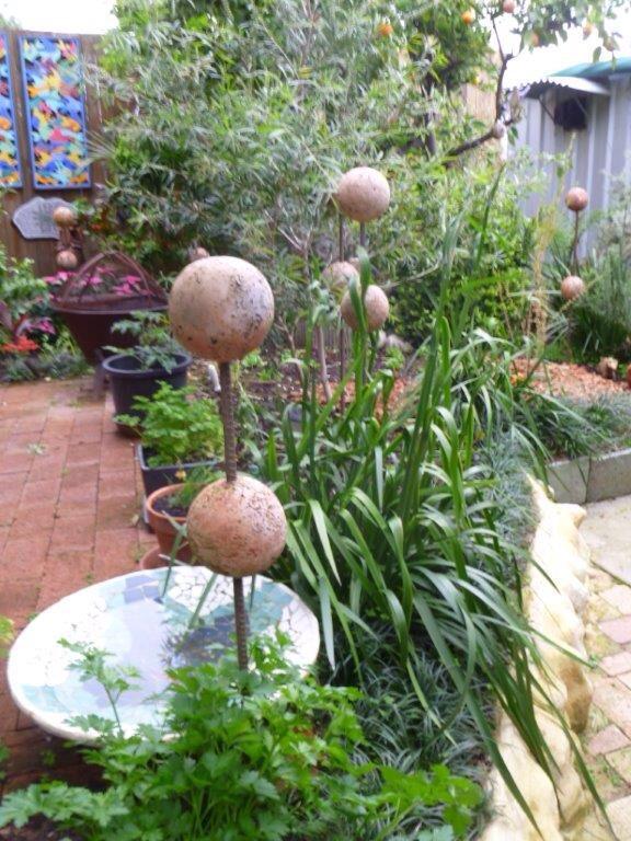 Lesley Barrett's garden with her sculptures.